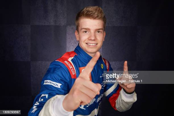 Robert Shwartzman of Russia and Prema Racing poses for a portrait at Bahrain International Circuit on March 07, 2021 in Bahrain, Bahrain.