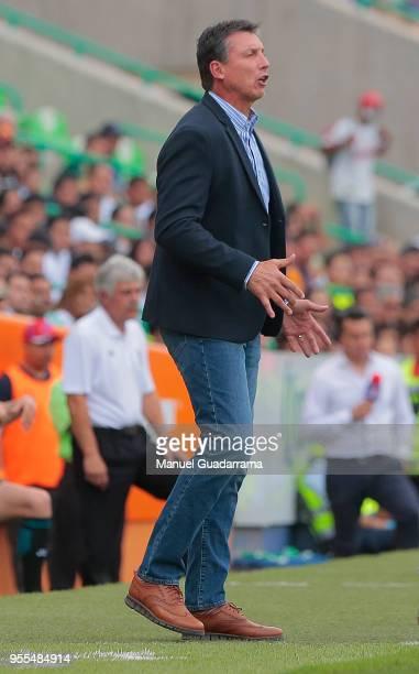 Robert Siboldi coach of Santos shouts instructions to his players during the quarter finals second leg match between Santos Laguna and Tigres UANL as...
