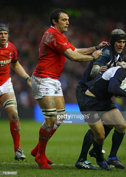 Robert Sidoli of Wales plays without his boots during the RBS Six Nations match between Scotland and Wales at Murrayfield Stadium on February 10,...