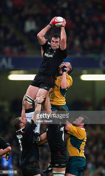 Robert Sidoli of Wales wins lineout ball during the Invesco Perpetual Series Rugby Union International between Wales and Australia at the Millennium...