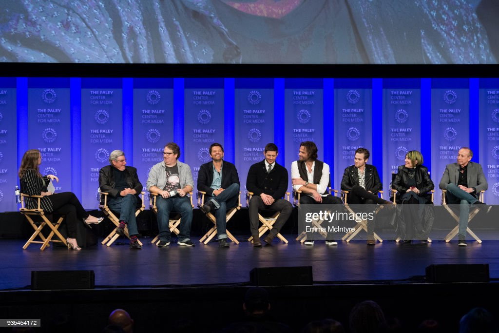 Robert Singer, Andrew Dabb, Misha Collins, Jensen Ackles, Jared Padalecki, Alexander Calvert, Eugenie Ross-Leming, and Brad Buckner speak onstage at the Paley Center for Media's 35th Annual PaleyFest Los Angeles 'Supernatural' at Dolby Theatre on March 20, 2018 in Hollywood, California.