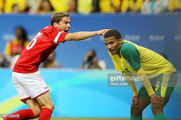 Robert Skov of Denmark celebrates after scoring against South Africa during a men's soccer match at Mane Garrincha Stadium during the Rio 2016...
