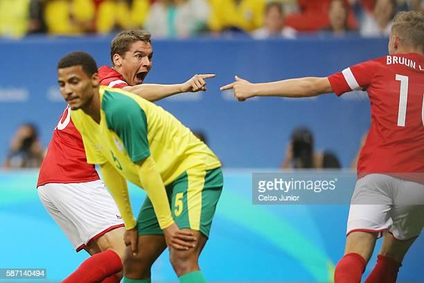 Robert Skov of Denmark celebrates after scoring against South Africa during a men's soccer match at Mane Garrincha Stadium during the Rio 2016...