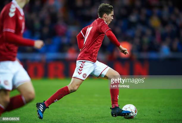 Robert Skov of Denmark U21 controls the ball during the U21 International friendly match between Denmark and England at BioNutria Park on March 27...