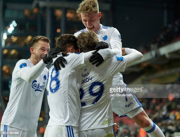 Robert Skov of FC Copenhagen and teammates celebrate after his 10 goal during the Danish Alka Superliga match between FC Copenhagen and OB Odense at...