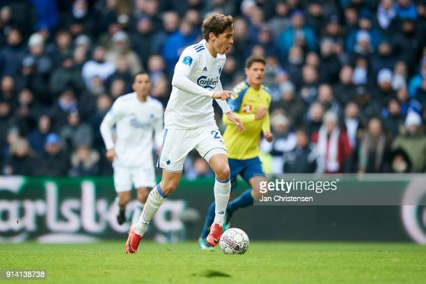 Robert Skov of FC Copenhagen controls the ball during the Danish Cup DBU Pokalen match between FC Copenhagen and Brondby IF in Telia Parken Stadium...