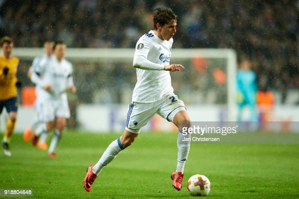 Robert Skov of FC Copenhagen controls the ball during the UEFA Europa League match between FC Copenhagen and Atletico Madrid at Telia Parken Stadium...