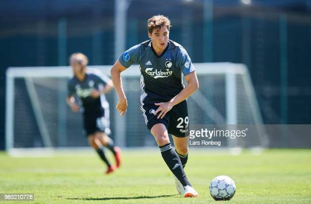 Robert Skov of FC Copenhagen in action during the friendly match between FC Copenhagen and Lyngby Boldklub at KB's baner on June 27 2018 in...