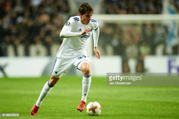Robert Skov of FC Copenhagen in action during the UEFA Europa League match between FC Copenhagen and Atletico Madrid at Telia Parken Stadium on...