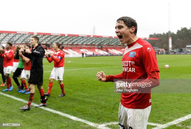 Robert Skov of Silkeborg celebrates their victory after the Danish Alka Superliga match between Silkeborg IF and Randers FC at Mascot Park on March 5...