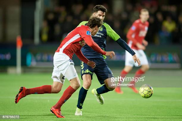 Robert Skov of Silkeborg IF and Anthony Jung of Brondby IF compete for the ball during the Danish Alka Superliga match between Silkeborg IF and...