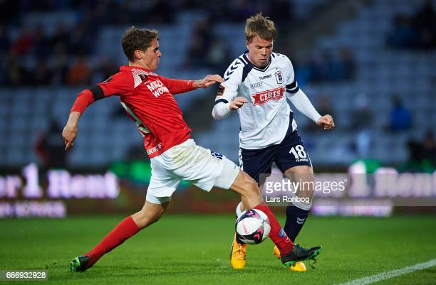 Robert Skov of Silkeborg IF and Jesper Juelsgard of AGF Aarhus during the Danish Alka Superliga match between AGF Aarhus and Silkeborg IF at Ceres...