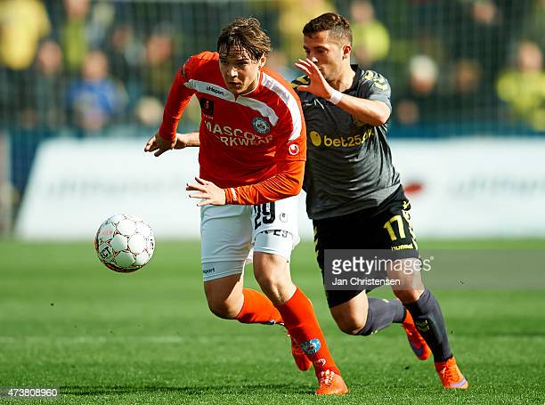 Robert Skov of Silkeborg IF and Riza Durmisi of Brondby IF compete for the ball during the Danish Alka Superliga match between Silkeborg IF and...
