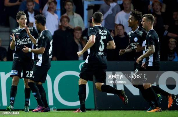 Robert Skov of Silkeborg IF celebrates after scoring their first goal during the Danish Alka Superliga match between Randers FC and Silkeborg IF at...