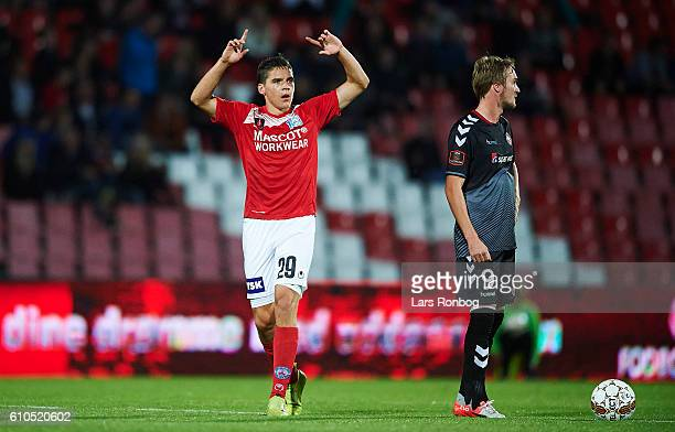 Robert Skov of Silkeborg IF celebrates after scoring their second goal during the Danish Alka Superliga match between Silkeborg IF and AaB Aalborg at...