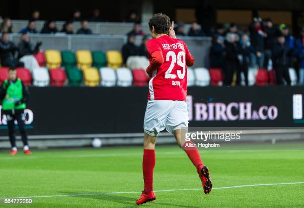 Robert Skov of Silkeborg IF celebrates after scoring their second goal during the Danish Alka Superliga match between Silkeborg IF and Randers FC at...