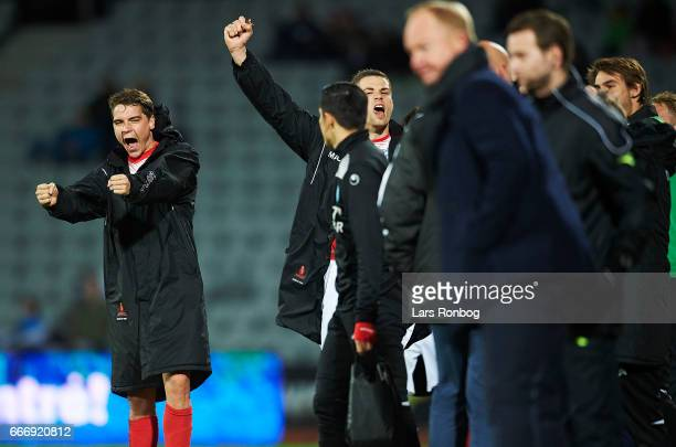 Robert Skov of Silkeborg IF celebrates after the Danish Alka Superliga match between AGF Aarhus and Silkeborg IF at Ceres Park on April 10 2017 in...