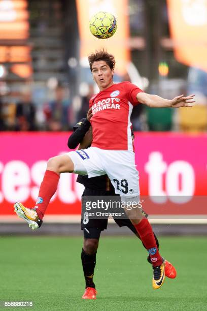 Robert Skov of Silkeborg IF compete for the ball during the Danish Alka Superliga match between Silkeborg IF and FC Nordsjalland at JYSK Park on...
