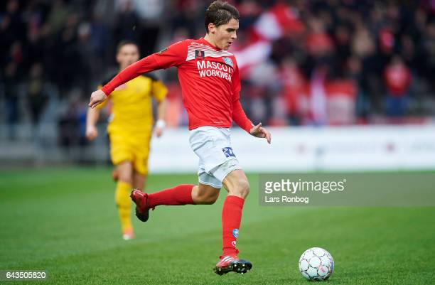 Robert Skov of Silkeborg IF controls the ball during the Danish Alka Superliga match between Silkeborg IF and AC Horsens at Mascot Park on February...