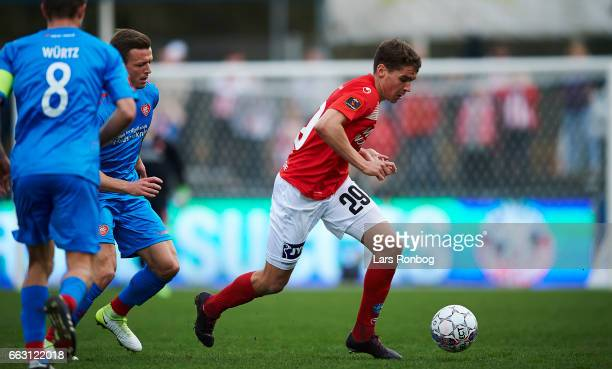Robert Skov of Silkeborg IF controls the ball during the Danish Alka Superliga match between Silkeborg IF and AaB Aalborg at Mascot Park on April 1...