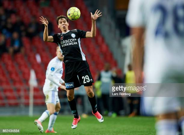 Robert Skov of Silkeborg IF controls the ball during the Danish Alka Superliga match between FC Copenhagen and Silkeborg IF at Telia Parken Stadium...