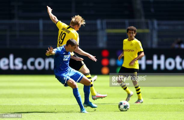 Robert Skov of TSG 1899 Hoffenheim battles for possession with Julian Brandt of Borussia Dortmund during the Bundesliga match between Borussia...