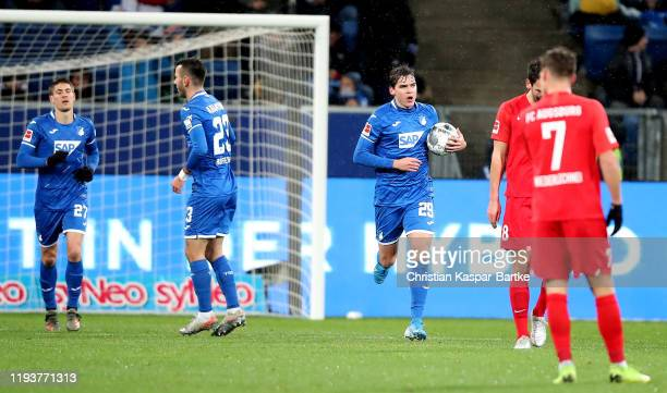 Robert Skov of TSG 1899 Hoffenheim celebrates after scoring their opening goal during the Bundesliga match between TSG 1899 Hoffenheim and FC...