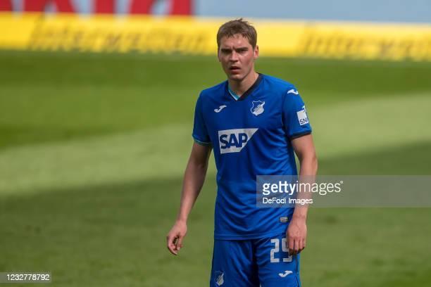 Robert Skov of TSG 1899 Hoffenheim Looks on during the Bundesliga match between TSG Hoffenheim and FC Schalke 04 at PreZero-Arena on May 8, 2021 in...