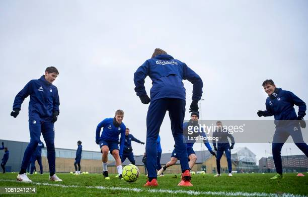 Robert Skov Viktor Fischer Rasmus Falk Andreas Bjelland Nicolaj Thomsen and Jonas Wind of FC Copenhagen in action during the FC Copenhagen training...