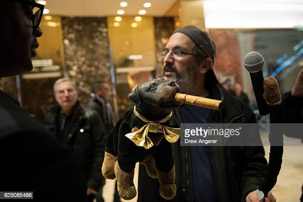 Robert Smigel and 'Triumph the Insult Comic Dog' walk through the lobby as they record video on 'Facebook Live' at Trump Tower, November 22, 2016 in...