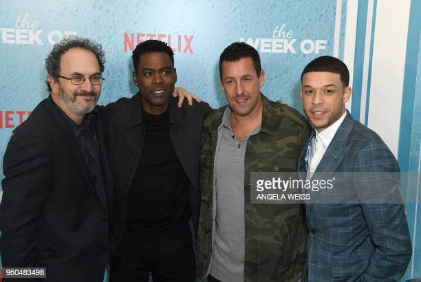Robert Smigel Chris Rock Adam Sandler and Roland Buck III attend the World Premiere of the Netflix film 'The Week Of' at AMC Loews Lincoln Square 13...