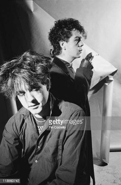 Robert Smith and Lol Tolhurst of The Cure posed studio portrait 1983