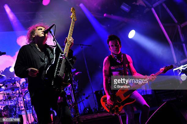 Robert Smith and Simon Gallup of The Cure headline on the Main Stage during Day 3 of Bestival at Robin Hill Country Park on September 10 2016 in...