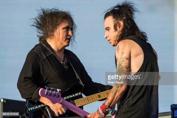 Robert Smith and Simon Gallup of The Cure perform live at Barclaycard present British Summer Time Hyde Park at Hyde Park on July 7 2018 in London...