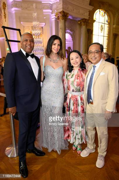 Robert Smith, Hope Dworaczyk, Celia Chou and Silas Chou attend Pianists Lang Lang & Gina Alice Cocktail Wedding at Hotel Shangri-La on June 02, 2019...