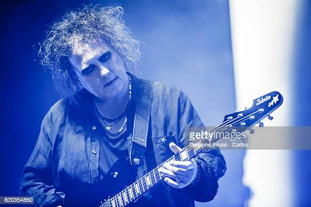 Robert Smith of English rock band The Cure performs on stage on November 1 2016 in Milan Italy