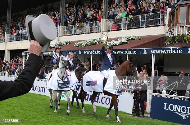 Robert Smith of Great Britain riding Voila celebrates after winning the Aga Khan trophy in the Furusiyya FEI Nations Cup during the RDS Dublin Horse...