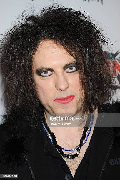 Robert Smith of The Cure arrives at the Shockwaves NME Awards 2009 at the O2 Brixton Academy on February 25 2009 in London England