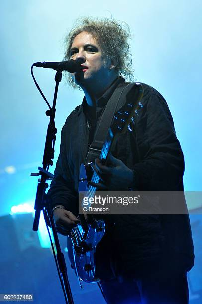 Robert Smith of The Cure headlines on the Main Stage during Day 3 of Bestival at Robin Hill Country Park on September 10 2016 in Newport Isle of Wight