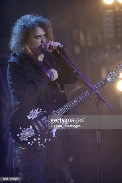 Robert Smith of the Cure on stage during the Shockwaves NME Awards 2009 at the 02 Academy Brixton London