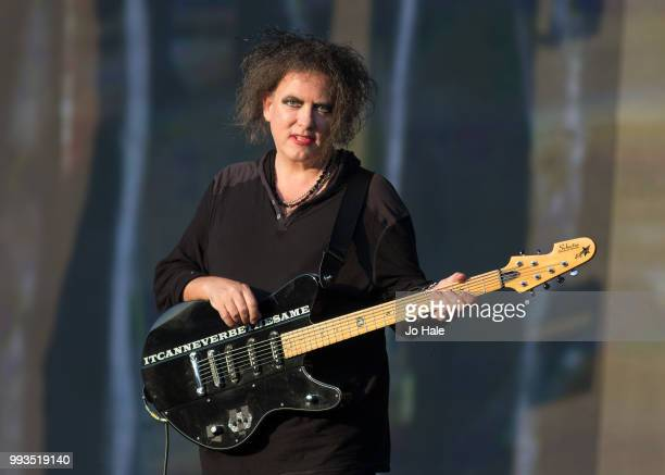 Robert Smith of The Cure performs at Barclaycard present British Summer Time Hyde Park at Hyde Park on July 7 2018 in London England