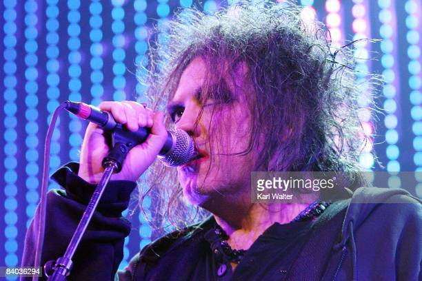 Robert Smith of The Cure performs at KROQ's Almost Acoustic Xmas at the Gibson Amphitheatre on December 14 2008 in Universal City California