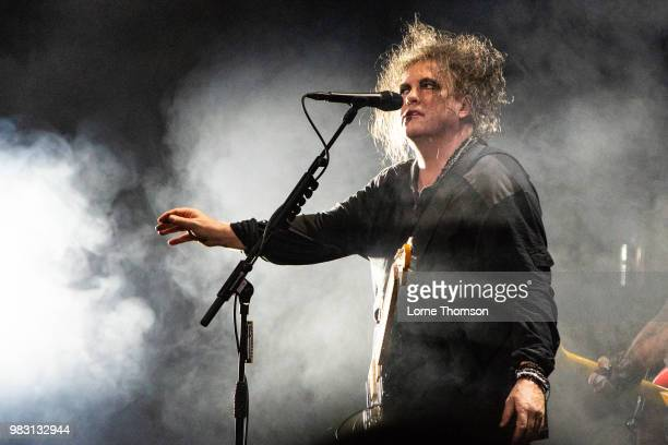 Robert Smith of The Cure performs at Robert Smith's Meltdown at The Royal Festival Hall on June 24 2018 in London England