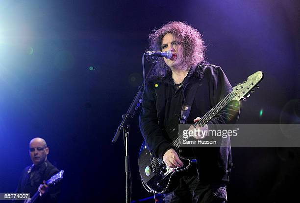 Robert Smith of The Cure performs at the 02 Arena as part of NME's Big Gig on February 26 2009 in London England