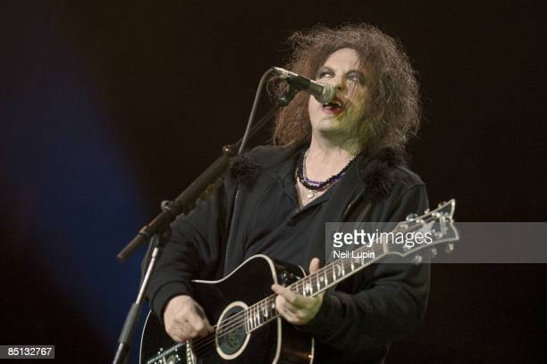 Robert Smith of The Cure performs at the O2 Arena on February 26 2009 in London England