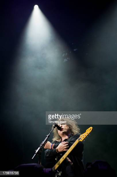 Robert Smith of The Cure performs during Lollapalooza 2013 at Grant Park on August 4 2013 in Chicago Illinois
