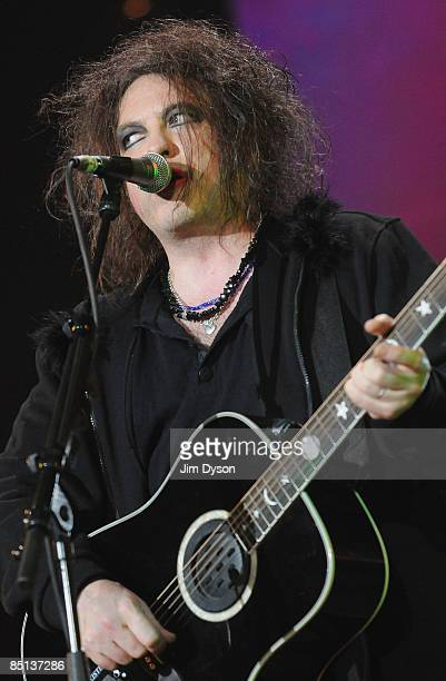 Robert Smith of The Cure performs during the NME Awards Big Gig at the O2 Arena on February 26 2009 in London England