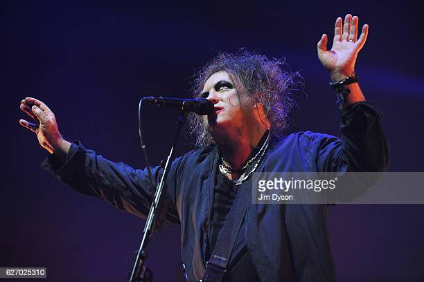 Robert Smith of The Cure performs live on stage at Wembley Arena on December 1 2016 in London England