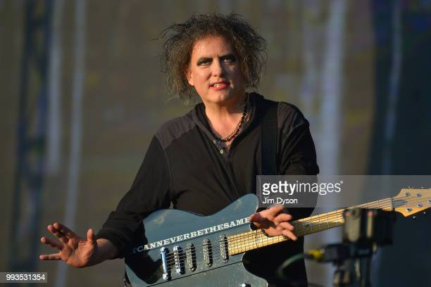 Robert Smith of The Cure performs live on stage during British Summer Time at Hyde Park on July 7 2018 in London England