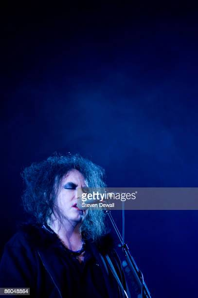 Robert Smith of the Cure performs on stage at Coachella Festival 2009 at Empire Polo Field on April 19 2009 in Indio California USA